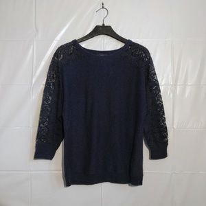 J. Crew | edged lace wool blend sweater